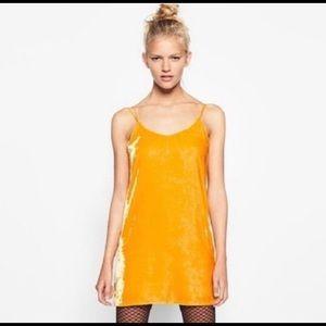 Zara Marigold Crushed Velvet Tank Top Mini Dress